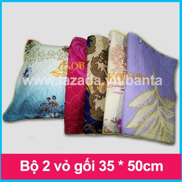 Bộ 2 vỏ gối 35*50 cotton, may lót bông, chống trượt và may viền (giao màu ngẫu nhiên)
