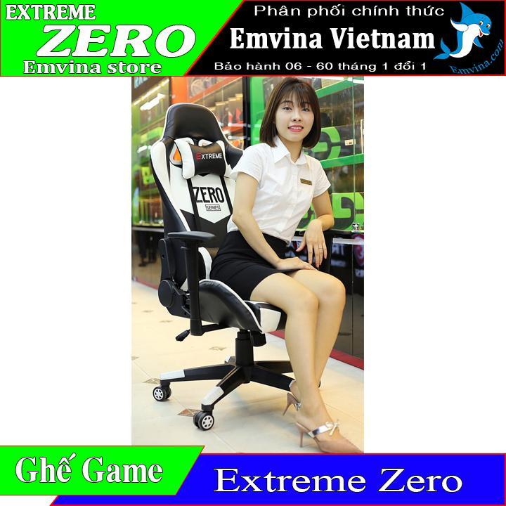 Ghế chơi game EXTREME ZERO GAMING chân xoay ngã lưng 180 độ 2 gối tựa êm kê tay điều chỉnh cao thấp và xoay nguyên hộp đủ ốc và dụng cụ lắp đặt ghế xoay phù hợp ngồi chơi game văn phòng học tập làm việc gaming EMVINA VIETNAM - EMVINA.COM