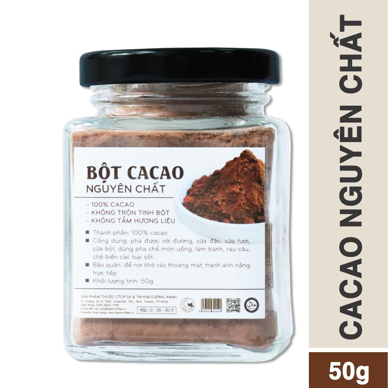 Bột cacao nguyên chất 100% tốt cho sức khỏe trẻ nhỏ - Light Ca cao - hũ 50gr