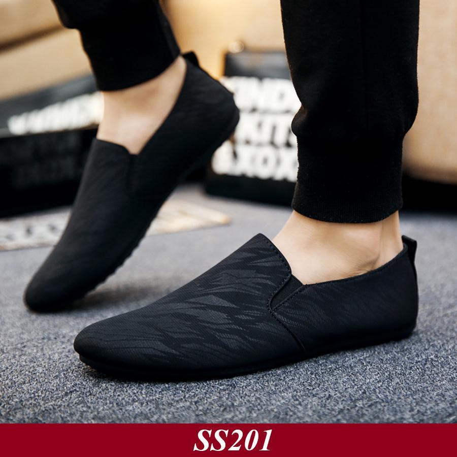 Giày Lười Nam Hàn Quốc Màu Đen Giày lười vải phong cách