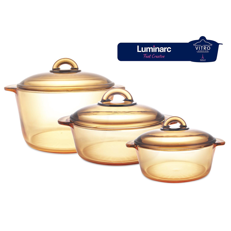 LM Combo 3 nồi thủy tinh cao cấp Luminarc Amberline Granite 1L/2L/3L