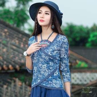 สไตล์จีนเสื้อเชิ้ตผู้หญิงพอร์ซเลนปักลายดอกไม่สม่ำเสมอแขวนคอสายรัดทึบ (bellyband) ปลอมสองชิ้นสลิมฝ้าย100% เสื้อยืดแขนยาวหญิง