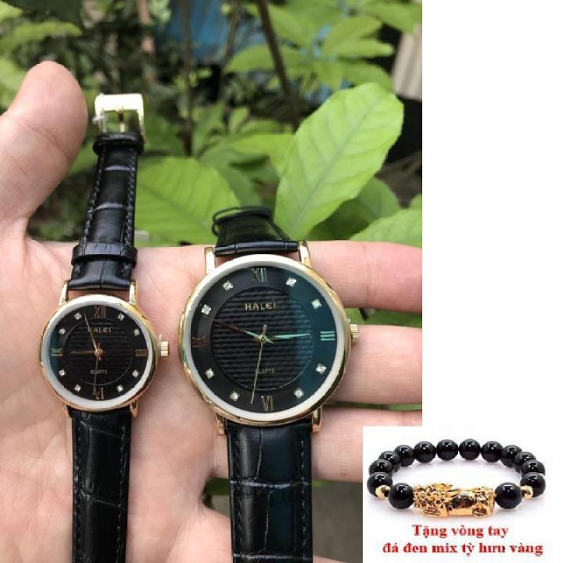 Cặp Đồng hồ nam dây da cao cấp Halei dây đen mặt đen  TẶNG 1 vòng tỳ hưu phong thủy may mắn HL545