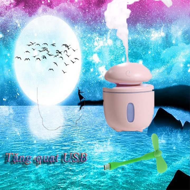 Đèn Nấm Phun Sương Mini( Tặng Kèm Quạt USB Đáng Yêu), đèn phun sương, đèn nấm, đèn tặng quạt, đèn phun sương tặng quạt, đèn tặng quạt USB