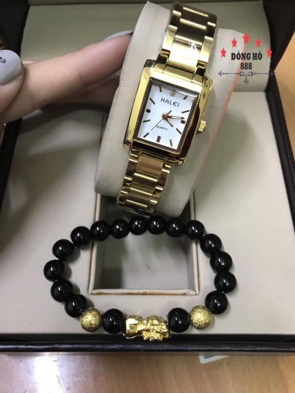 Đồng hồ Nữ  Halei mặt vuông dây thép thời thượng  TẶNG 1 vòng tỳ hưu phong thủy - Dây vàng mặt trắng