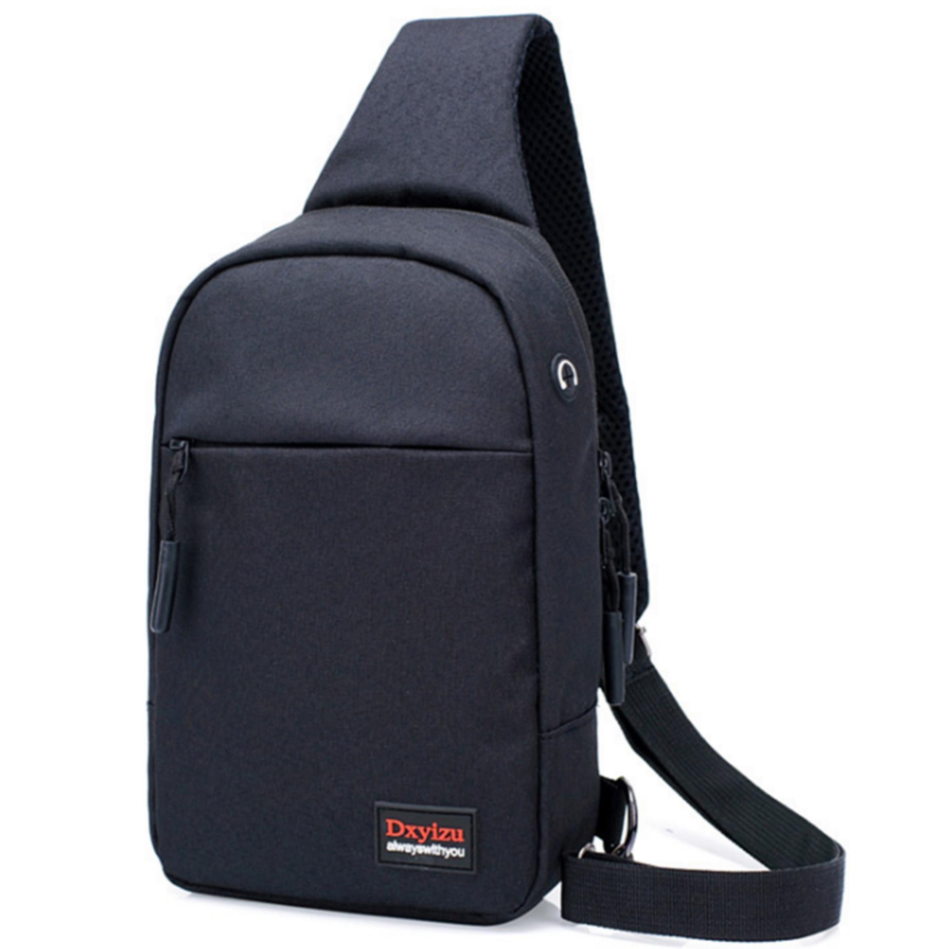 Túi nam đeo chéo 2 ngăn thời trang vải chống rách_(Đen) CR8