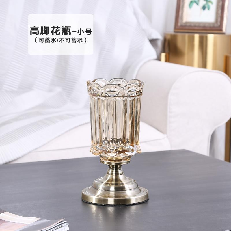 European Style Luxury Crystal Glass Vase Transparent Water to Keep American Decoration Table Living Room Artificial Flower Arrangement Decoration