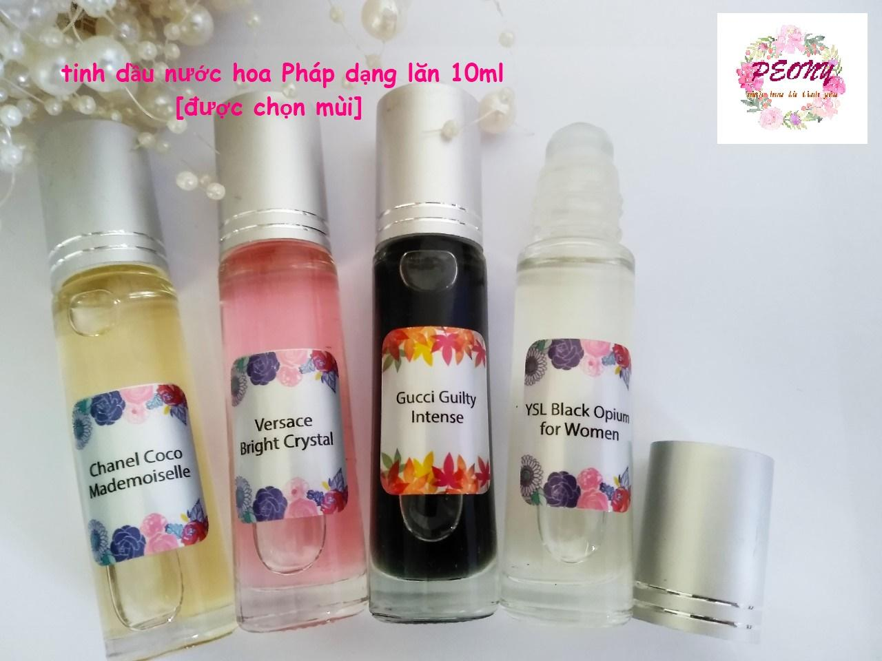 [4 lăn 10ml - mùi tự chọn] tinh dầu nước hoa Pháp - sỉ lẻ tinh dầu mini nam nữ dạng lăn - peonyladyshop chính hãng