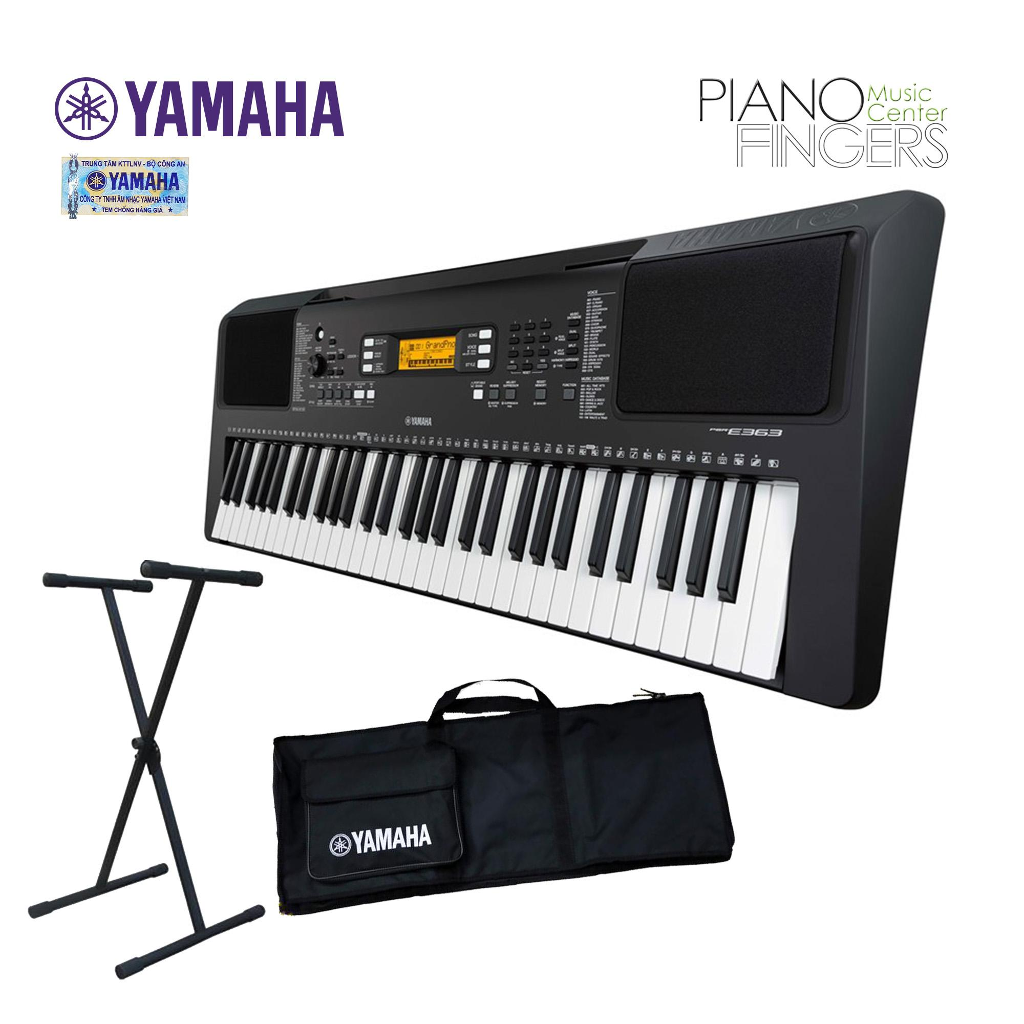 Đàn organ Yamaha PSR-E363+Chân+Bao - Piano Fingers