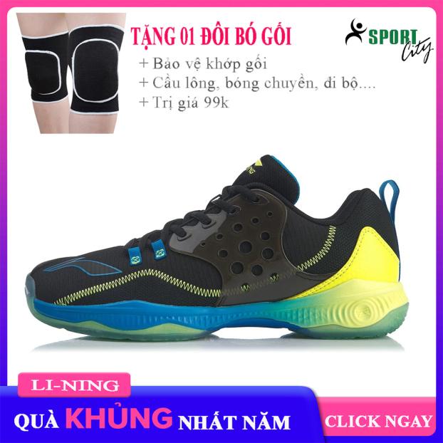giày cầu lông nam Lining AYTQ021 Màu đen và xanh,đế cao su già đàn hồi chống trơn trượt-giày thể thao nam nữ-giày bóng chuyền cao cấp giá rẻ