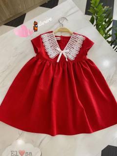 (HÀNG MỚI, KÈM QUÀ TẶNG) Váy, Đầm bé gái, Váy đỏ babydoll cổ vuông phối ren trắng bánh bèo, tay ngắn, chât đũi siêu xinh cho bé gái từ 8 đến 20 kg, DUCK KIDS