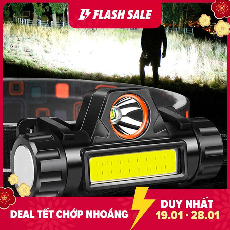 Đèn pin đội đầu câu cá ban đêm 5W, đèn pin đội đầu siêu sáng, đèn pin di động cổng sạc USB