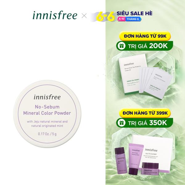 Phấn phủ kiềm dầu dạng bột khoáng có màu innisfree No Sebum Mineral Color Powder #1 Violet 5g