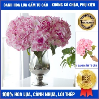 Bình Hoa Cẩm Tú Cầu bằng lụa bông lớn kích thước dài 45cm x 20cm có 5 nhánh, có hoa và lá xanh, nên mua ít nhất 2 cành để đủ cắm. Sản phẩm có 2 loại bán kèm chậu hoặc bán cành hoa không có chậu thumbnail