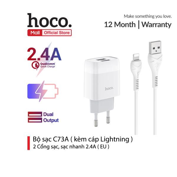 Bộ sạc Hoco C73A 2 cổng sạc nhanh 2.4A ( kèm cáp lightning )