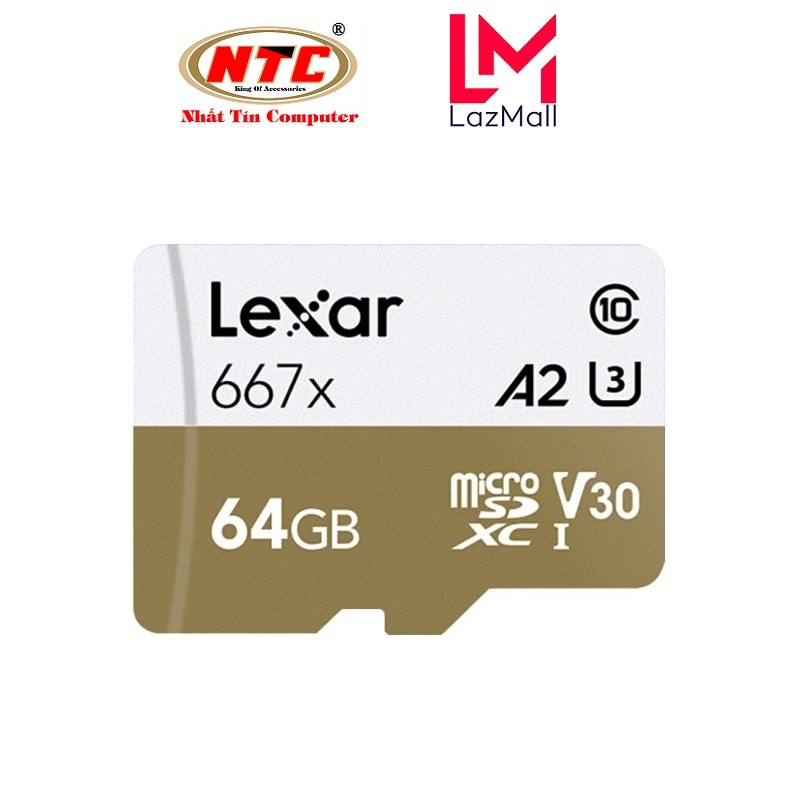 Thẻ Nhớ MicroSDXC Lexar Professional 667X V30 U3 4K A2 64GB R100MB/s (Vàng) - Không Box