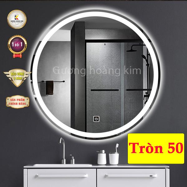 gương soi nhà tắm gương hoàng kim cảm ứng 3 chạm hoặc 3 mầu + phá sương cao cấp kích thước D40cm - guonghoangkim mirror HK0001