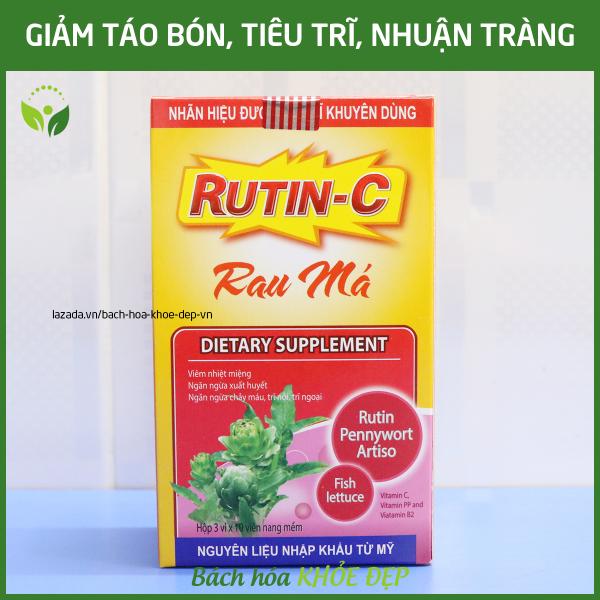 Viên uống Rutin C Rau Má giảm viêm nhiệt miệng, giảm táo bón, tiêu trĩ, nhuận tràng, thanh nhiệt cơ thể - Hộp 30 viên