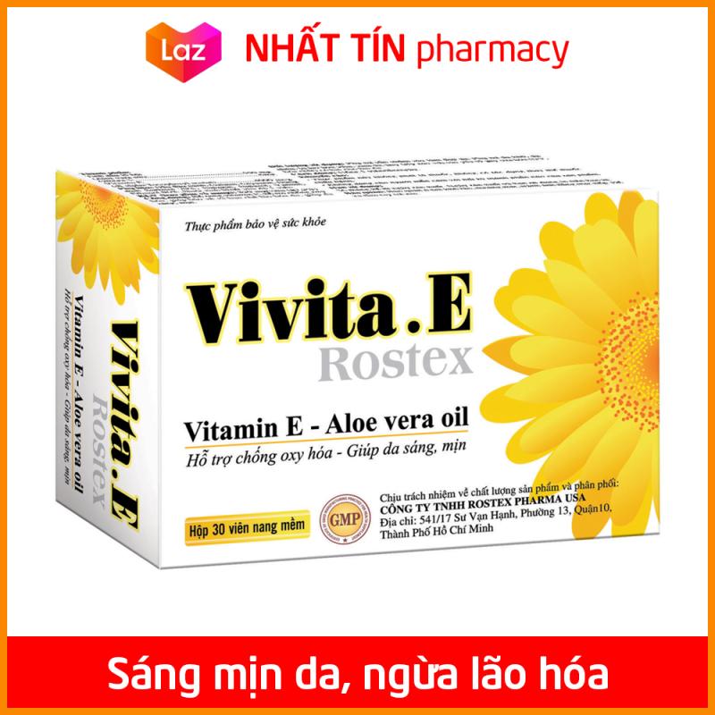 Viên uống đẹp da Vitamin E 4000mcg, Omega 3, Aloe vera oil chống lão hóa, ngừa nếp nhăn - Hộp 30 viên dùng 1 tháng - NHẤT TÍN PHARMACY giá rẻ