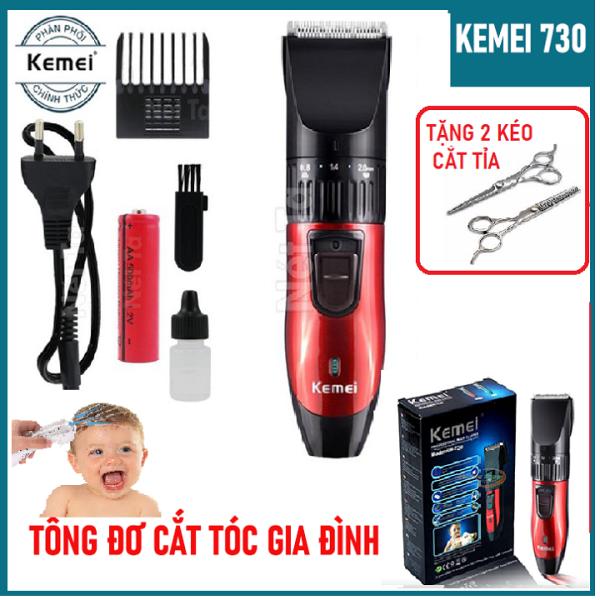 [Miễn Ship- Tặng 2 Kéo Cắt Tỉa] Tông đơ cắt tóc trẻ em, gia đình Kemei KM 730, Tông đơ cắt tóc đa năng cho bé, không dây, chuyên nghiệp tại nhà