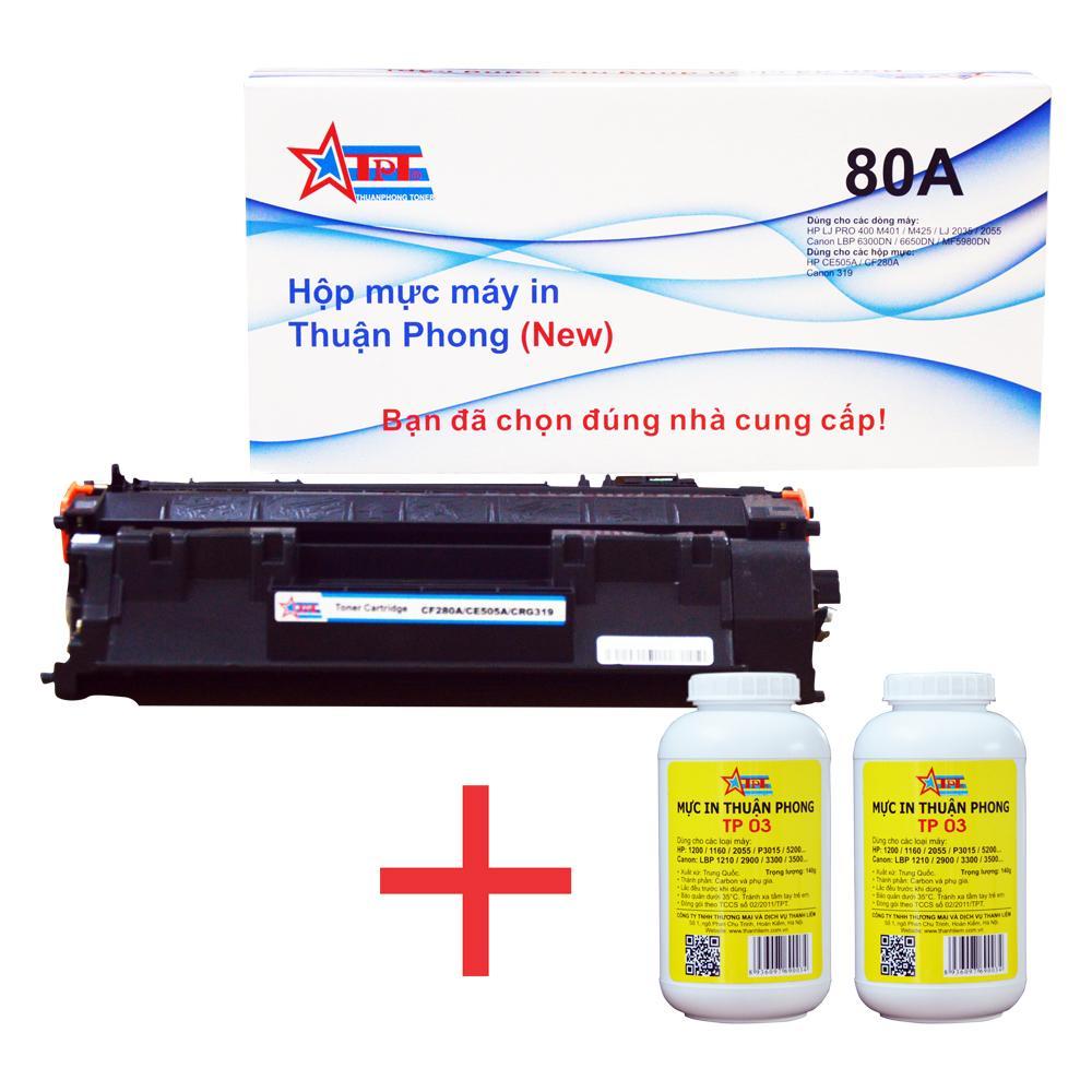 COMBO Hộp mực Thuận Phong 80A (TỰ NẠP) + 2 lọ mực đổ TP03