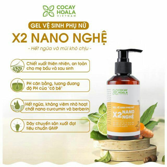 Dung dịch vệ sinh phụ nữ hồng, se khít, hết viêm ngứa cực hiệu quả x2 nano Nghệ cocayhoala 150ml
