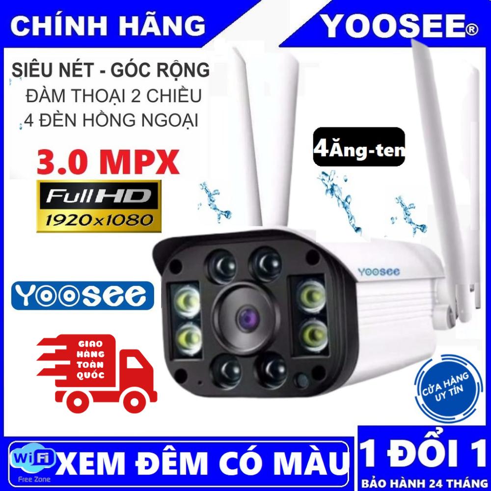 [CÓ MẦU BAN ĐÊM] Camera wifi 3.0 ngoài trời - trong nhà camera yoosee 4 Râu 3.0 Mpx full hd 1080p - hỗ trợ 4 đèn hồng ngoại và 4 đèn LED