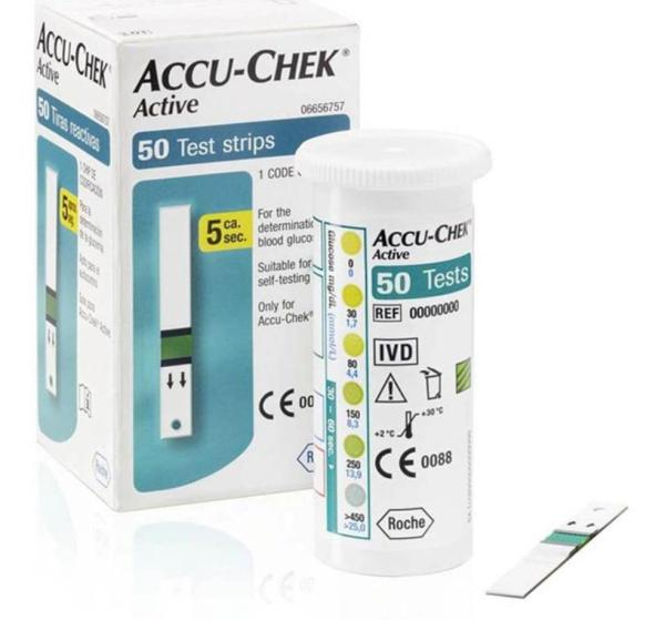 Hộp 50 que thử đường huyết tiểu đường Accu-Chek Active dùng cho máy Roche/Đức
