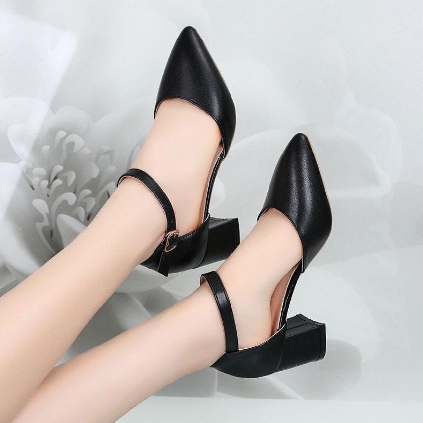 Giày cao gót 5 phân đế vuông bít hậu  MÃ A8 giá rẻ