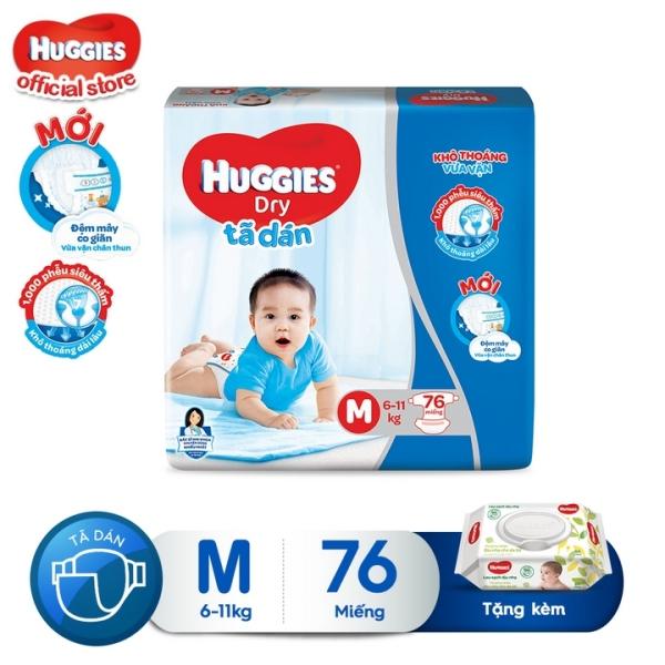 [Tặng khăn ướt không mùi] Tã dán HUGGIES DRY SUPER JUMBO M76 - L68 - XL62 - XXL56