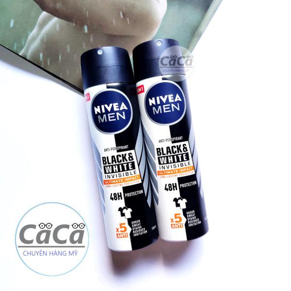 Combo 2 Xịt Ngăn Mùi Dành Cho Nam Nivea men Invisible 5in1 Black & White 150ml x 2 chai chống ố áo cao cấp
