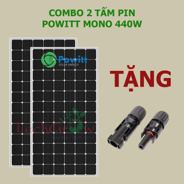 COMBO 2 tấm pin năng lượng mặt trời Powitt Mono 440W tặng Jack nối MC4