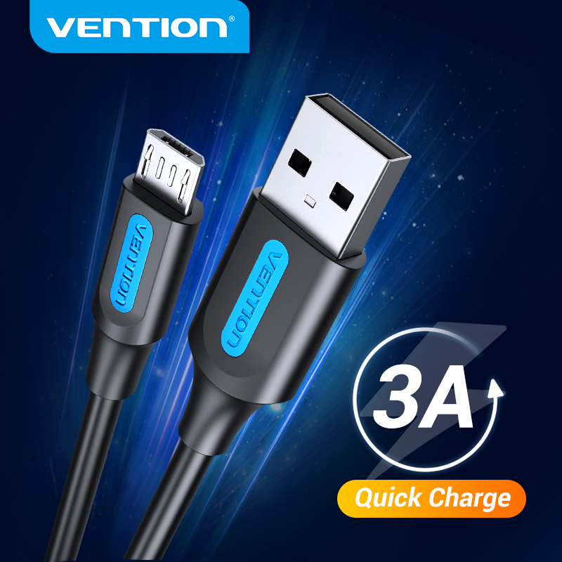 Vention cáp sạc Micro USB High Speed 3A dây sạc nhanh Micro USB For Samsung S7 Xiaomi Redmi Note 5 Pro Android Mobile Phone Data Cable dây sạc android 0.25M 0.5M 1M 1.5M 2M 3M