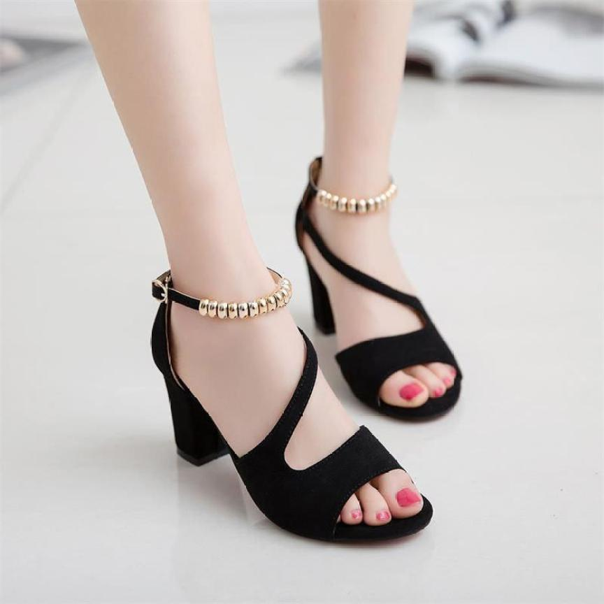 Giày cao gót nữ hở mũi gót vuông 7 cm giá rẻ