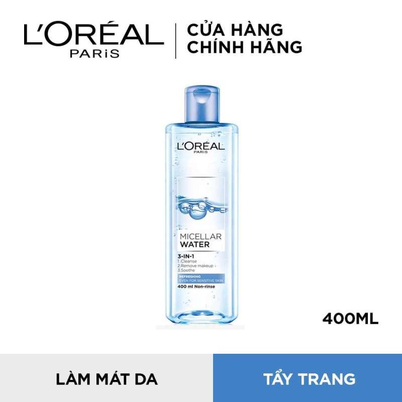Nước tẩy trang cho mọi loại da tươi mát LOreal Paris Micellar Water 400ml (xanh dương nhạt)