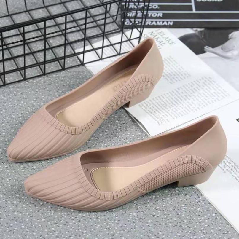 Giày búp bê nữ mũi nhọn, giày công sở nữ đế cao chống trơn chống nước giá rẻ