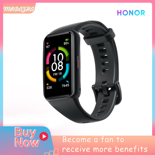 【90%NEW】Original Honor Band 6 Smart Band Bracelet AMOLED Swimming Waterproof Bluetooth Fitness Sleep Heart Rate Monitor Musicmulti-langu