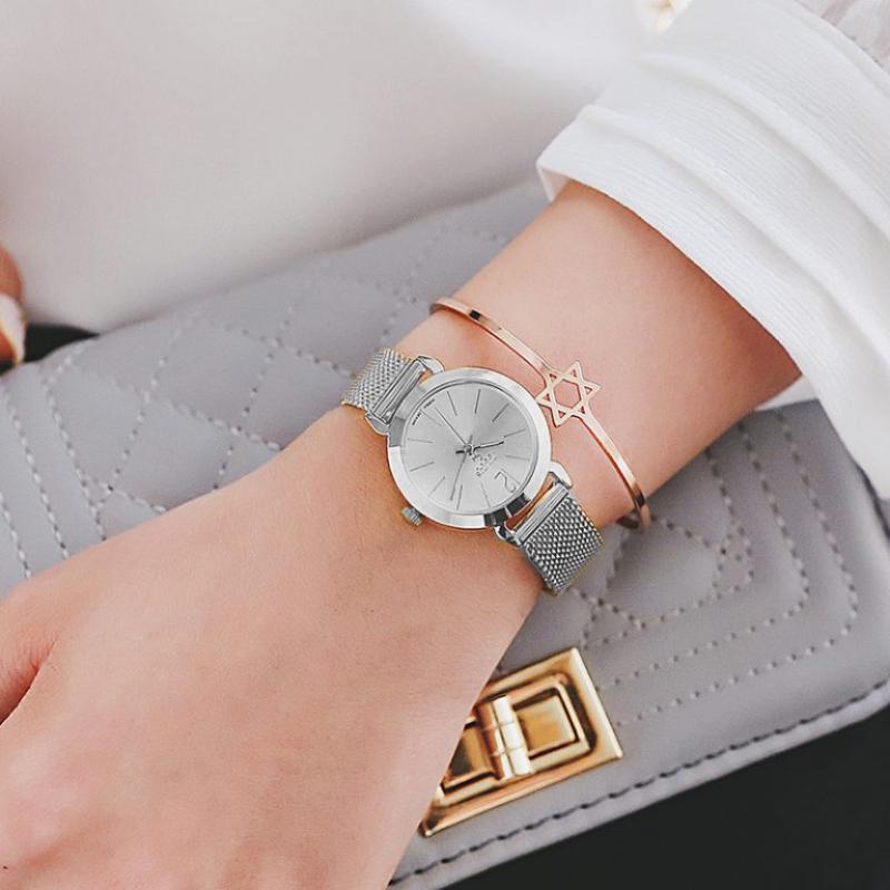 Đồng hồ nữ Julius Hàn Quốc JA-732A dây thép mesh thanh lịch (Bạc)
