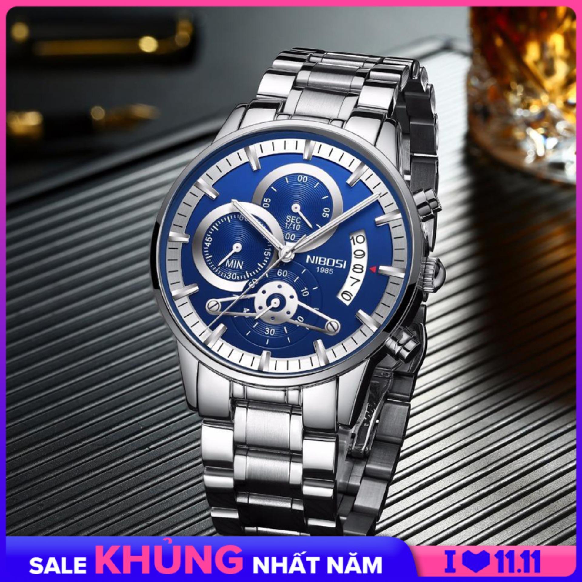 Nơi bán iWATCH-Đồng hồ nam dây thép NIBOSI 2309-1 6 kim lịch ngày style doanh nhân sang trọng IW-NB23091