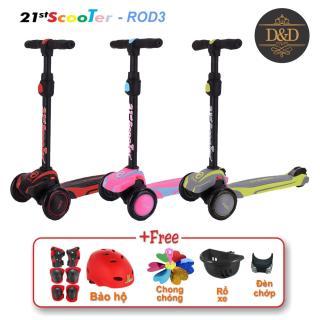 Xe trượt scooter 21st có giảm xóc, 3 bánh phát sáng cao cấp cho bé (Tặng kèm bộ bảo hộ 7 món & nhiều quà khác) thumbnail