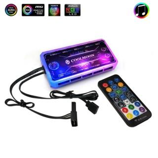Bộ Hub RGB Coolmoon Đồng Bộ Mainboard, Sync Mainboard - Thay Đổi Hiệu Ứng Theo Nhạc thumbnail