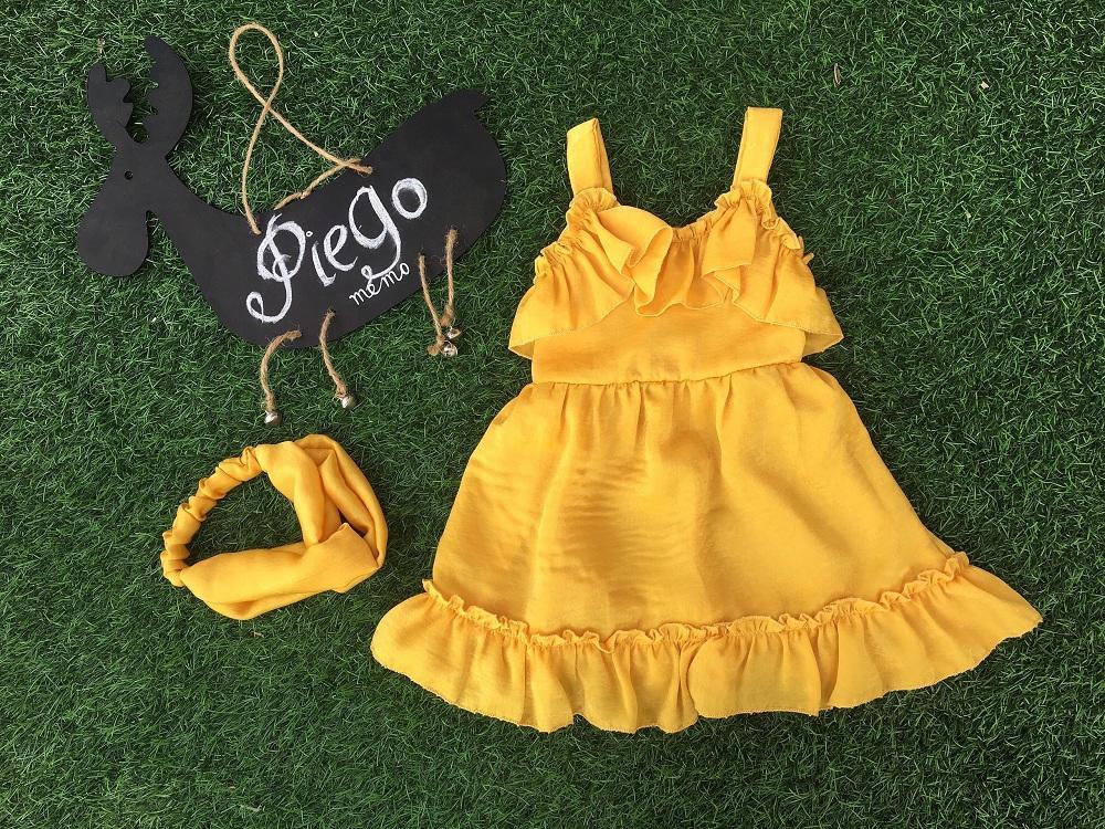 Giá bán Váy đàm bé gái dáng xòe màu vàng cho bé từ 6 đến 32kg