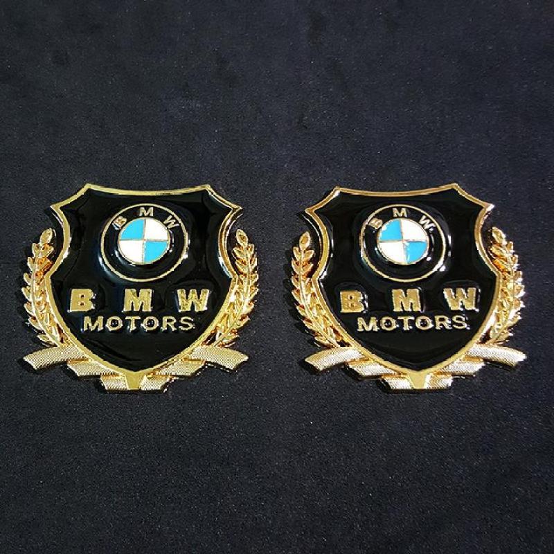 Bộ 2 miếng dán logo kim loại chữ BMW bông lúa
