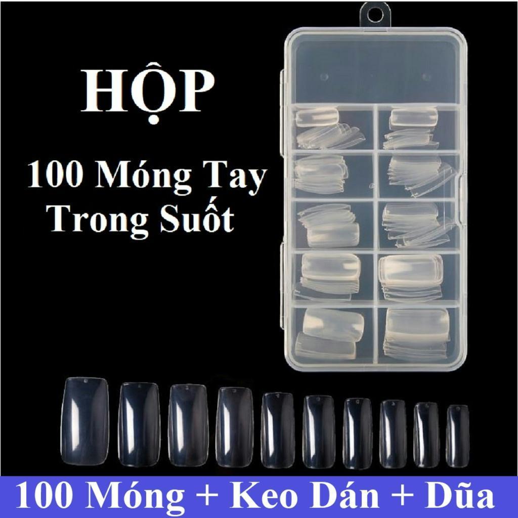 Hộp 100 móng tay giả Hàn Quốc màu trong suốt (kèm keo+dũa+miếng dán móng tay) cao cấp