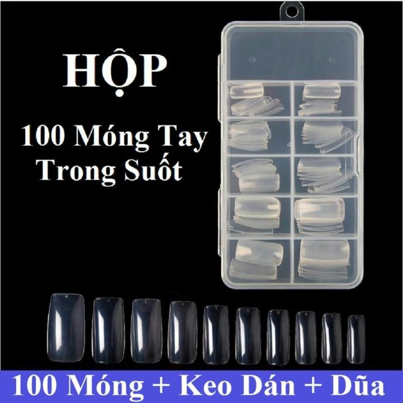 Hộp 100 móng tay giả Hàn Quốc màu trong suốt (kèm keo+dũa+miếng dán móng tay)