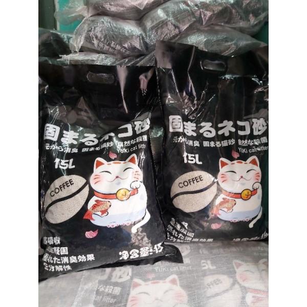 Cát vệ sinh mèo, cát khử mùi, cát vón cục nhật yuki(Cát nhật bản) 15L