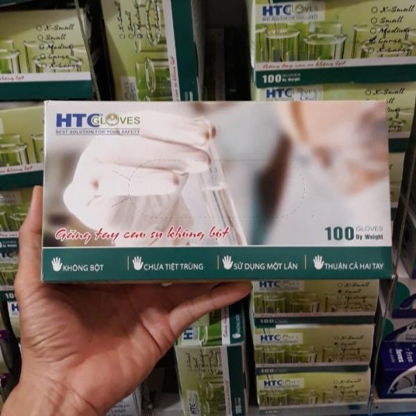 Thùng 10 Hộp Găng Tay - bao tay - y tế  KHÔNG BỘT HTC hộp 100 cái màu cao su tự nhiên