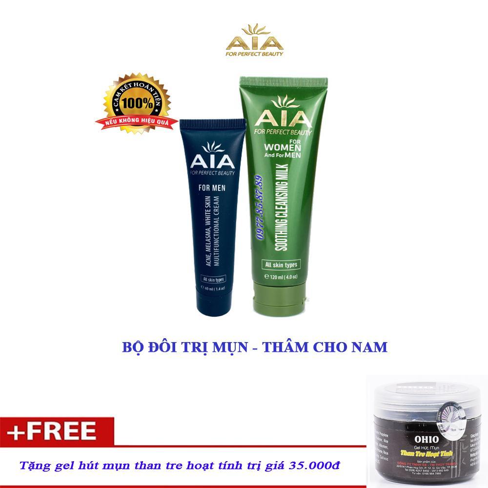 Bộ đôi mỹ phẩm ngừa Mụn chuyên sâu dành cho Nam AIA COSMETICS - Tặng Gel Hút Mụn cao cấp