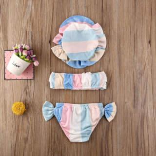 Bộ Bikini Cho Bé Gái Sơ Sinh 3 Món Áo Lửng Ống Xếp Nếp Ren + Đáy Nơ In Hoa + Mũ Dễ Thương Đồ Tắm Hai Mảnh (Đỏ 0-6 Tháng