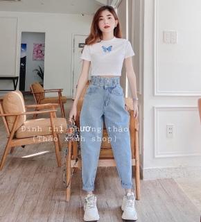 [HCM]Quần baggy nữ quần jean nữ chất bò lưng cao thời trang cao cấp tôn dáng phù hợp nhiều lứa tuổi THINHTUN SHOP ms11A thumbnail